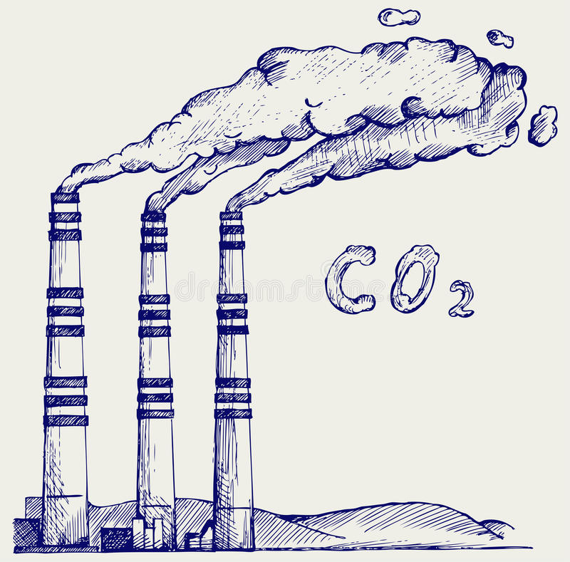 Emissie van steenkoolelektrische centrale stock illustratie