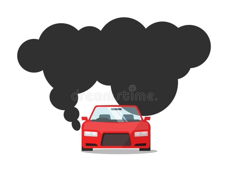 Emissieco2 van automobiele brandstof vectorillustratie, vlakke beeldverhaalauto met het grote gas van de rookwolk, concept koolst vector illustratie