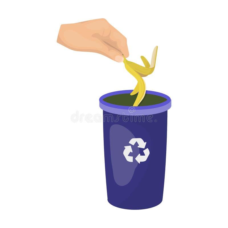 Emission der Bananenschale in den Mülleimer für Abfall Einzelne Ikone des Abfalls und der Ökologie in der Karikatur reden Vektors stock abbildung