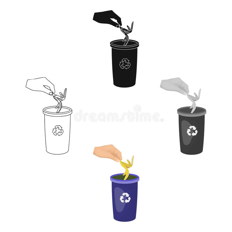 Emission der Bananenschale in den M?lleimer f?r Abfall Einzelne Ikone des Abfalls und der Ökologie in der Karikatur, schwarzer Ar stock abbildung