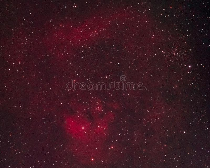 Emission Nebula. The emission nebula NGC 7822 in the constellation Cepheus as seen from the Palatinate Forest in Germany royalty free stock photography