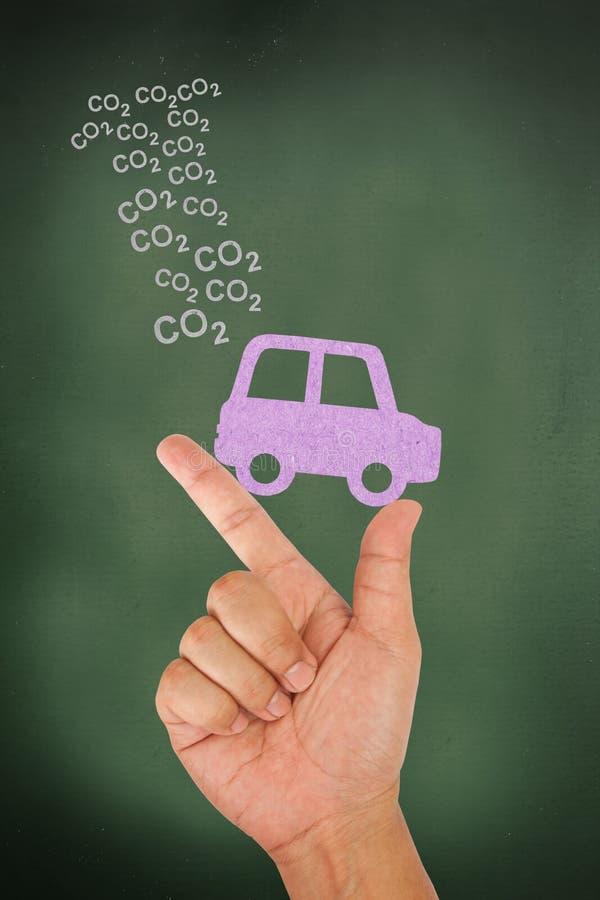 Emissione del biossido di carbonio della versione dell'automobile della stretta della mano illustrazione di stock