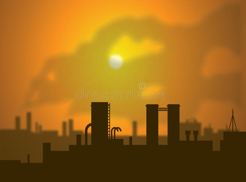 Emissions. Clouds of smoke rise from factory smoke stacks, filling the air with CO2 emissions. This contributes to increased green house gases and global warming vector illustration