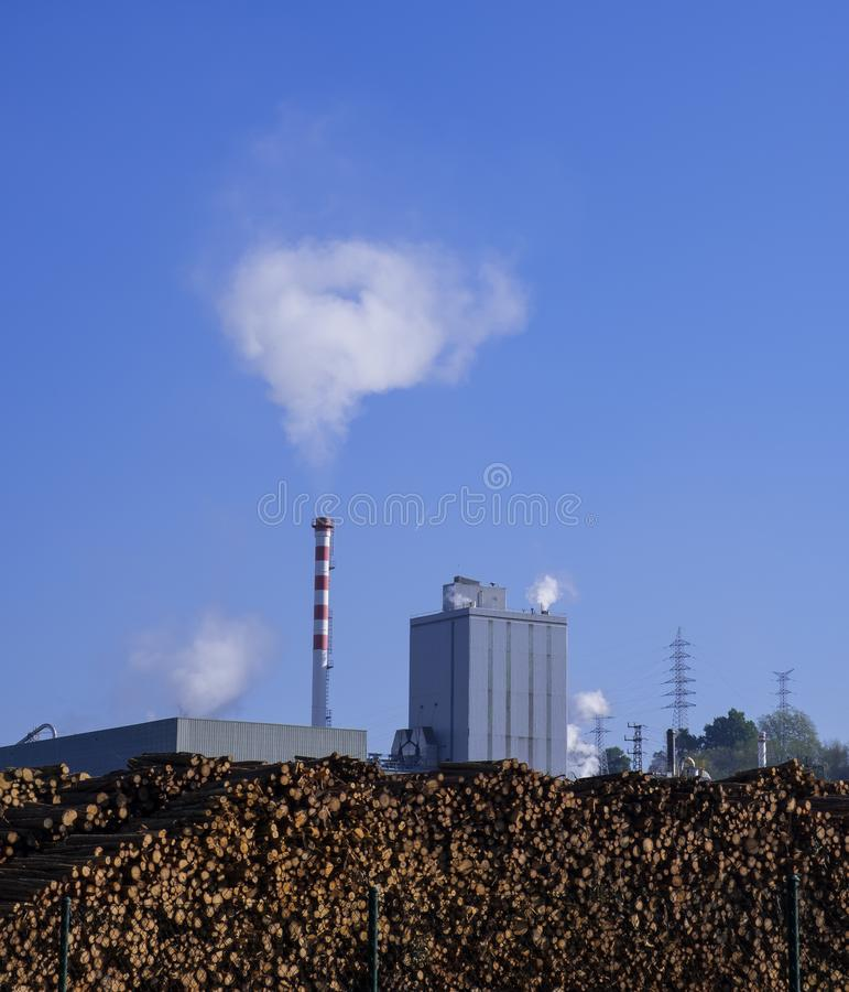 Emissions, chimneys with toxic emissions. Hernani, Basque Country royalty free stock photo