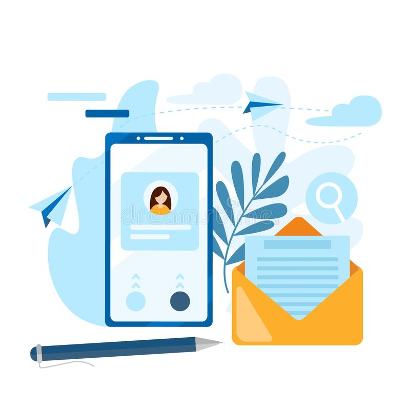 Emita o email Conceito da chamada, lista de endereços, livro de nota Contate-nos ícone ícone do contato na tela do telefone celul ilustração do vetor