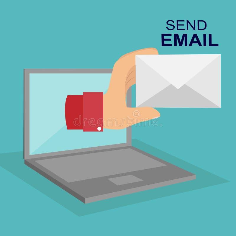 Emita o email A mão com o envelope e a tela do portátil ilustração royalty free