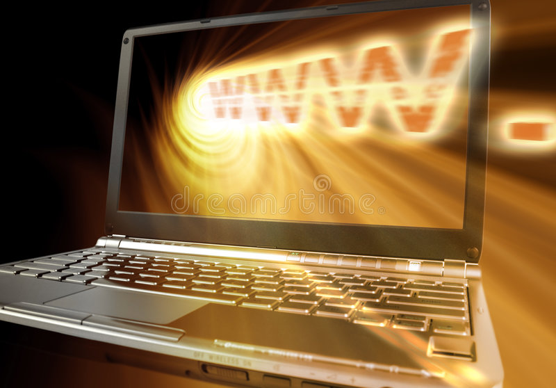 Emitted WWW. Concept WWW word with angled laptop and spiral orange spiral light