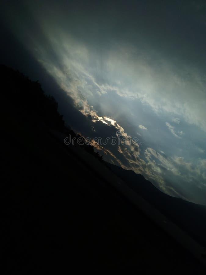 Emitting black cloud on Indonesian earth stock photo