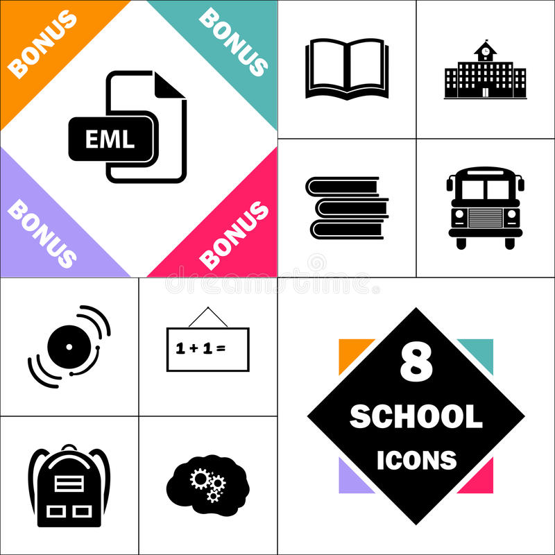 EML computer symbol. EML Icon and Set Perfect Back to School pictogram. Contains such Icons as Schoolbook, School Building, School Bus, Textbooks, Bell vector illustration