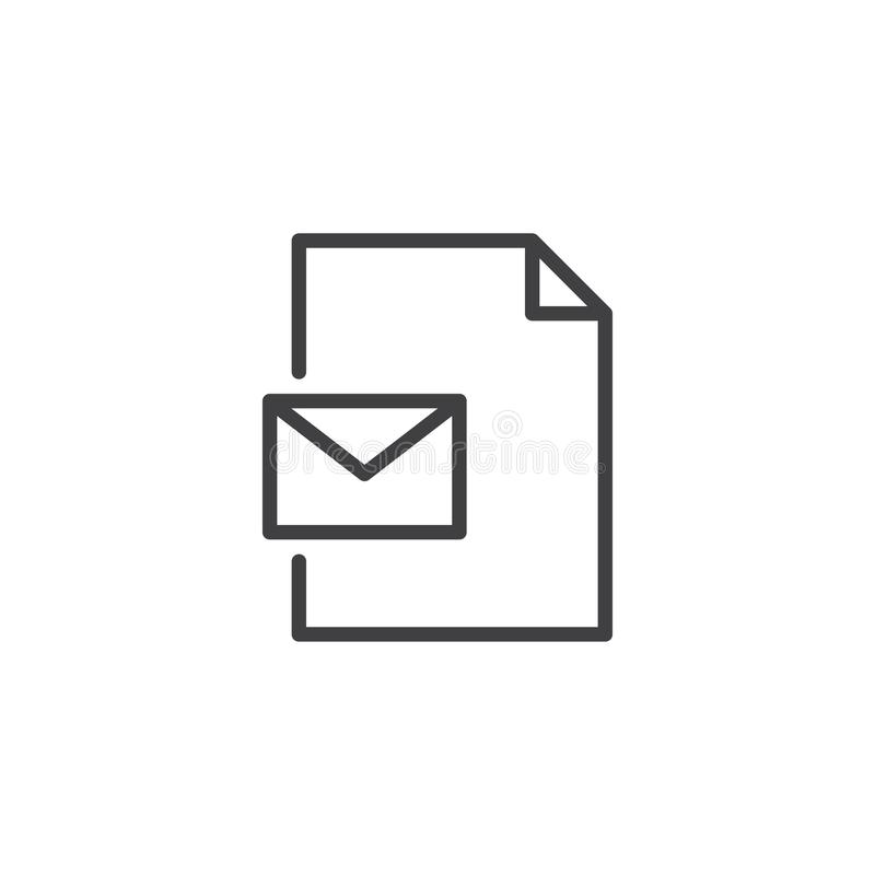 Eml file format outline icon. Linear style sign for mobile concept and web design. Envelope e-mail document simple line vector icon. Symbol, logo illustration vector illustration