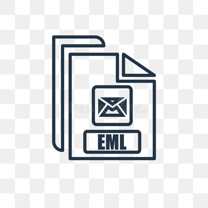 Eml vector icon isolated on transparent background, linear Eml t. Eml vector outline icon isolated on transparent background, high quality linear Eml vector illustration
