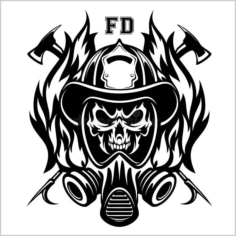 Emlem på brandavdelning - märke, logotyp på vit bakgrund - vektorbild royaltyfri illustrationer