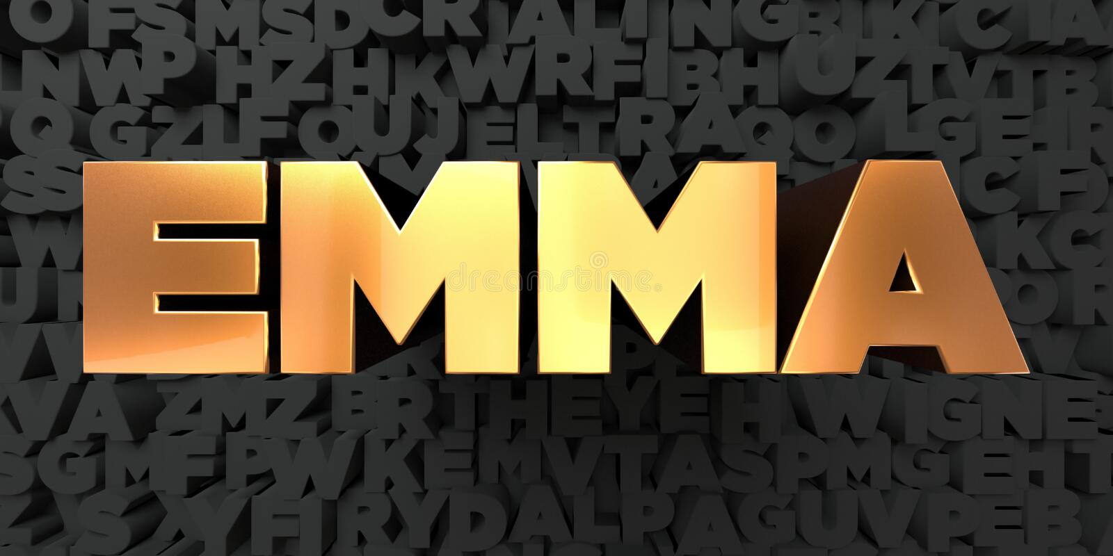 Emma - Gold text on black background - 3D rendered royalty free stock picture. This image can be used for an online website banner ad or a print postcard vector illustration