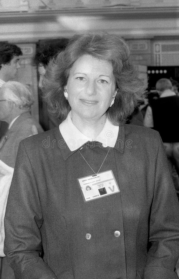Emma Nicholson. Conservative party Member of Parliament for Torridge & West Devon, visits the party conference on October 10, 1989 in Blackpool, England royalty free stock image