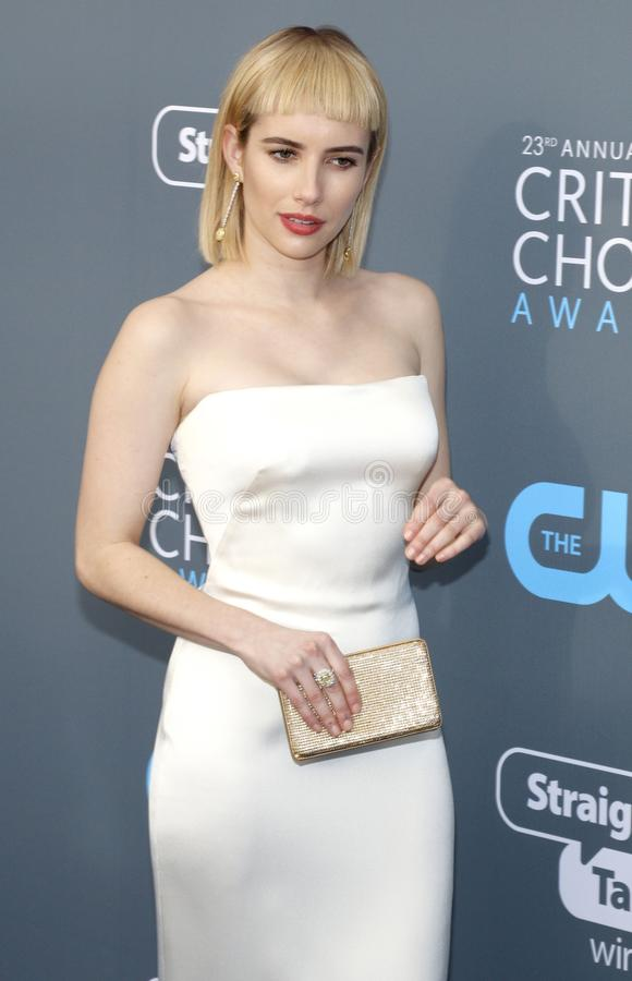 Emma Roberts. At the 23rd Annual Critics` Choice Awards held at the Barker Hangar in Santa Monica, USA on January 11, 2018 royalty free stock photography