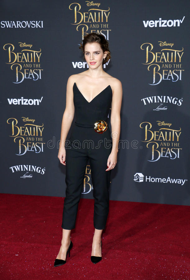 Emma Watson. At the Los Angeles premiere of `Beauty And The Beast` held at the El Capitan Theatre in Hollywood, USA on March 2, 2017 stock images