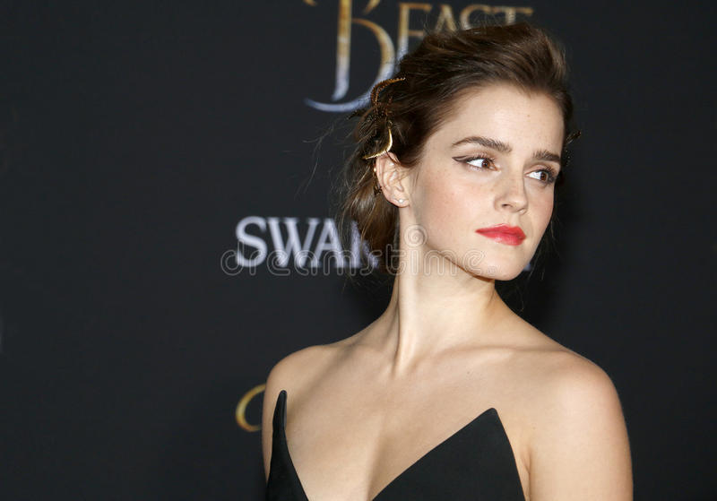 Emma Watson. At the Los Angeles premiere of `Beauty And The Beast` held at the El Capitan Theatre in Hollywood, USA on March 2, 2017 stock photo