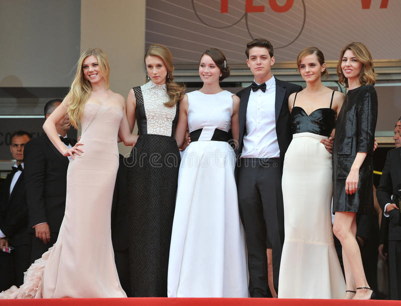 Emma Watson,Sofia Coppola. The Bling Ring director Sofia Coppola & stars Emma Watson, Claire Julien, Katie Chang, Taissa Fariga & Israel Broussard at the gala stock images