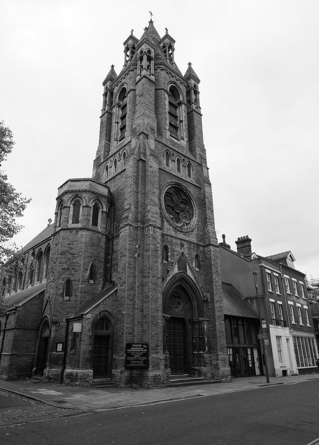 Emmanuel Church in Cambridge in zwart-wit royalty-vrije stock fotografie