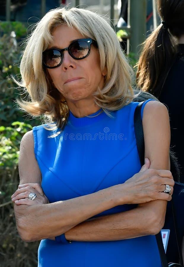 Emmanuel Macron żona Brigitte Macron w Ateny obraz stock
