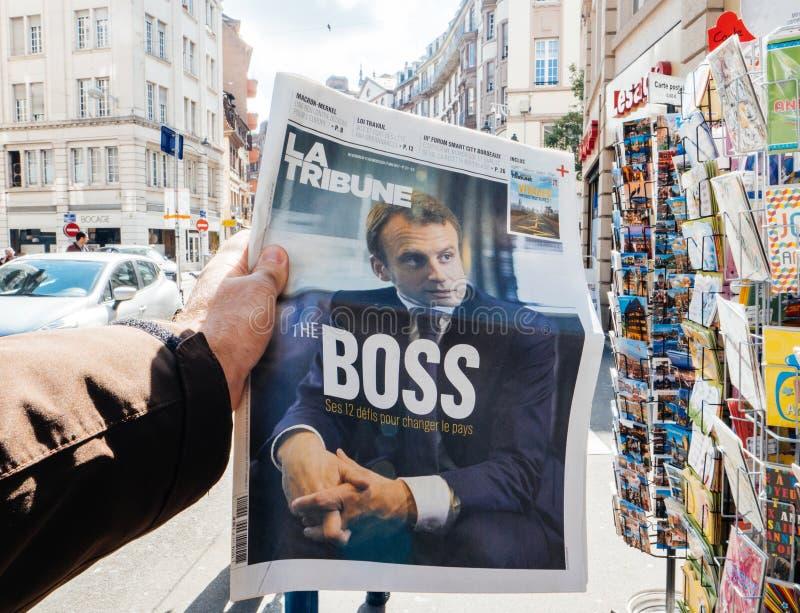 Emmanuel Macron The Boss fotografia stock libera da diritti