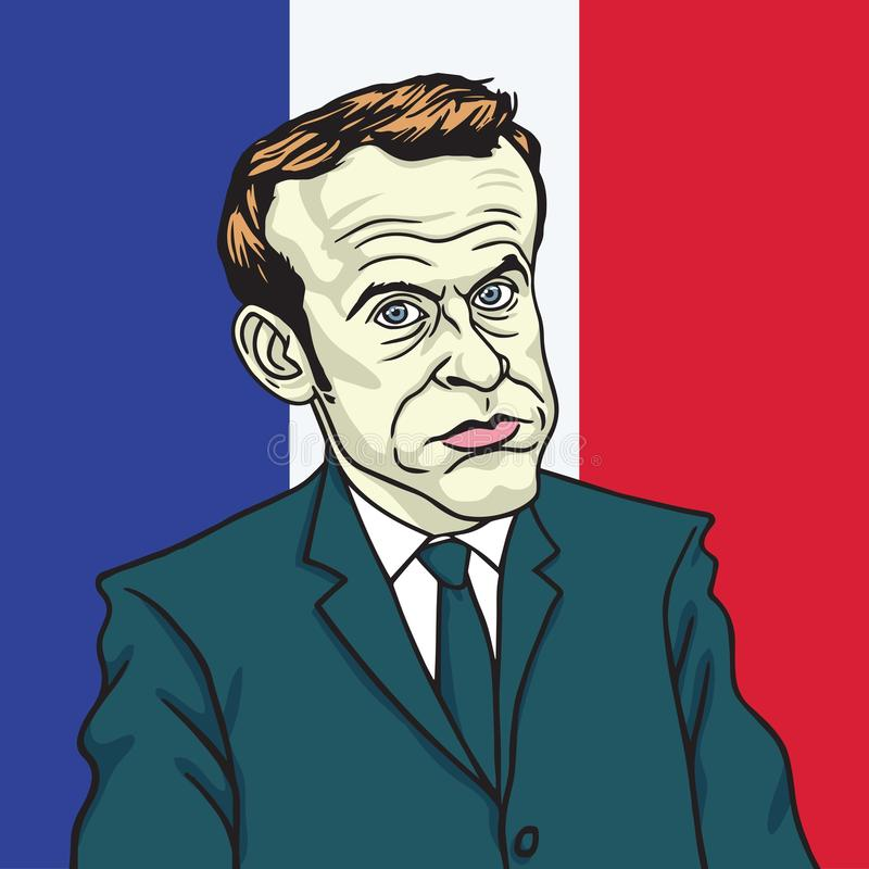 Emmanuel Macron Cartoon Caricature Portrait vektor Paris Juni 19, 2017 royaltyfri illustrationer