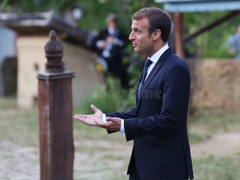 EMMANUEL MACRON. France President Emmanuel Macron pictured at Village museum, in Bucharest, Romania, Thursday, August 24, 2017 stock photos