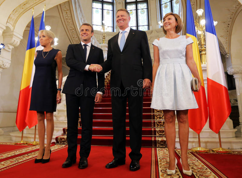 EMMANUEL MACRON AND KLAUS IOHANNIS. France President Emmanuel Macron, CL and his wife, Brigitte Macron at official photo with Romanian President Klaus Iohannis stock images