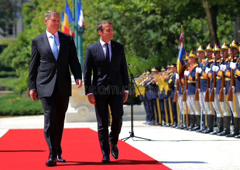 EMMANUEL MACRON AND KLAUS IOHANNIS. France President Emmanuel Macron, right, and Romanian President Klaus Iohannis pictured at Cotroceni Palace, during an royalty free stock photography