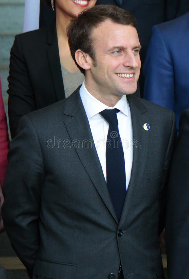 Emmanuel Macron. MARCH 31, 2015 - BERLIN: French minister Emmanuel Macron at a photo opp before a meeting of members of the French and German government in the stock image