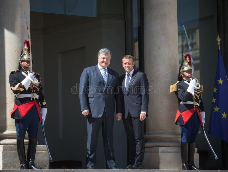 Emmanuel Macron and Petro Poroshenko. PARIS, FRANCE - Jun 26, 2017: French President Emmanuel Macron during an official meeting of the President of Ukraine Petro royalty free stock photo