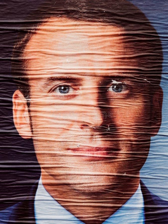 Emmanuel Macron portret podczas Drugi round francuza Prezydenckiego zdjęcie royalty free