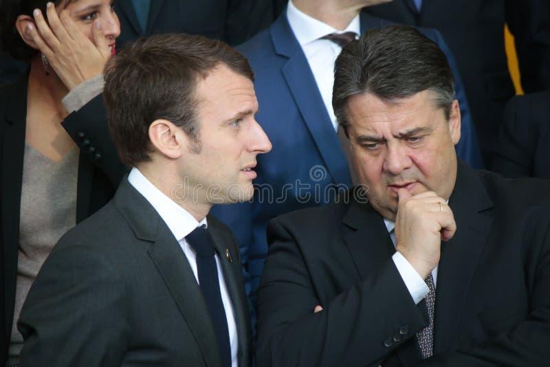 Emmanuel Macron, Sigmar Gabriel imagens de stock royalty free