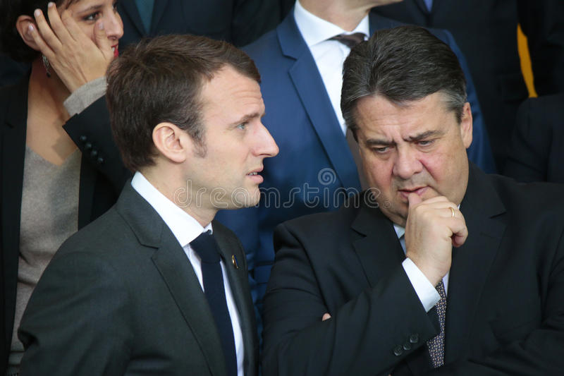 Emmanuel Macron, Sigmar gabriel. MARCH 31, 2015 - BERLIN: French minister Emmanuel Macron and Sigmar gabriel at a photo opp before a meeting of members of the royalty free stock images