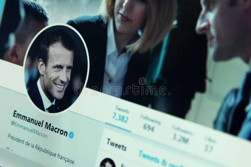 Emmanuel Macron twitter account. Official account of President of France Emmanuel Macron on social media network twitter royalty free stock photos