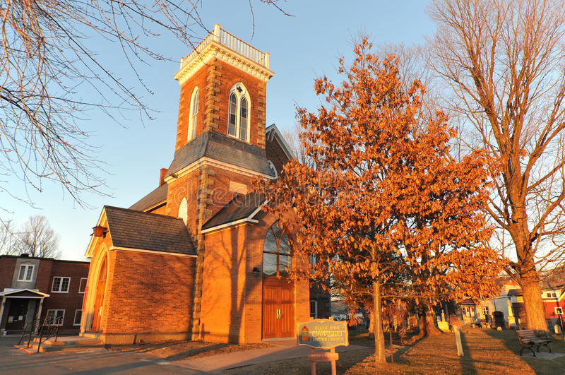 Emmanuel United church. Cowansville, Quebec, Canada stock photography