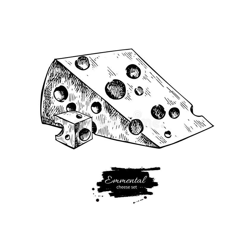Emmental sera rysunek Wektorowa ręka rysujący karmowy nakreślenie Grawerujący sześcianu cięcie i ilustracji