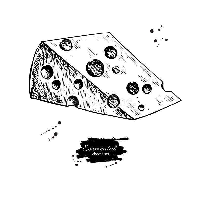 Emmental sera rysunek Wektorowa ręka rysujący karmowy nakreślenie Grawerujący trójboka plasterka cięcie ilustracji