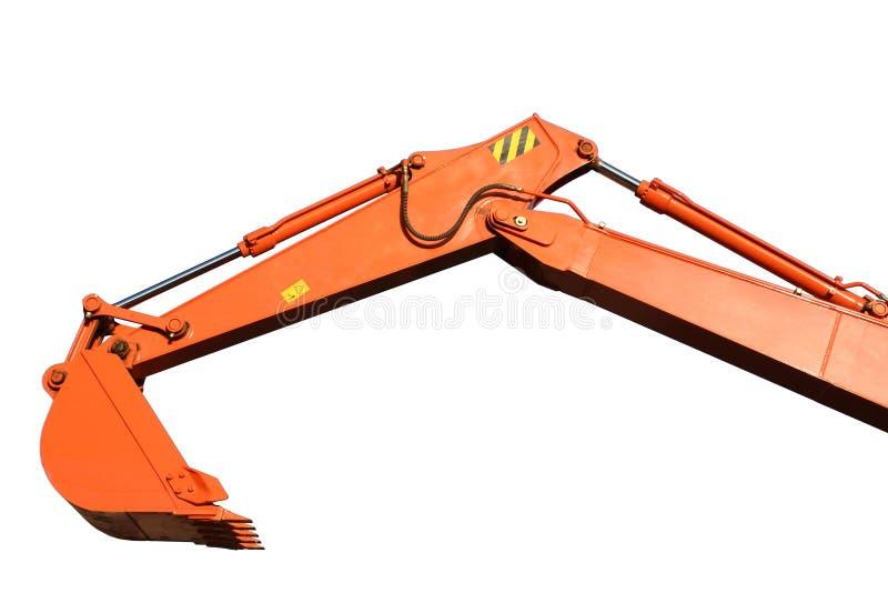 Emmer en hand van een de bouw baggermachine royalty-vrije stock afbeelding
