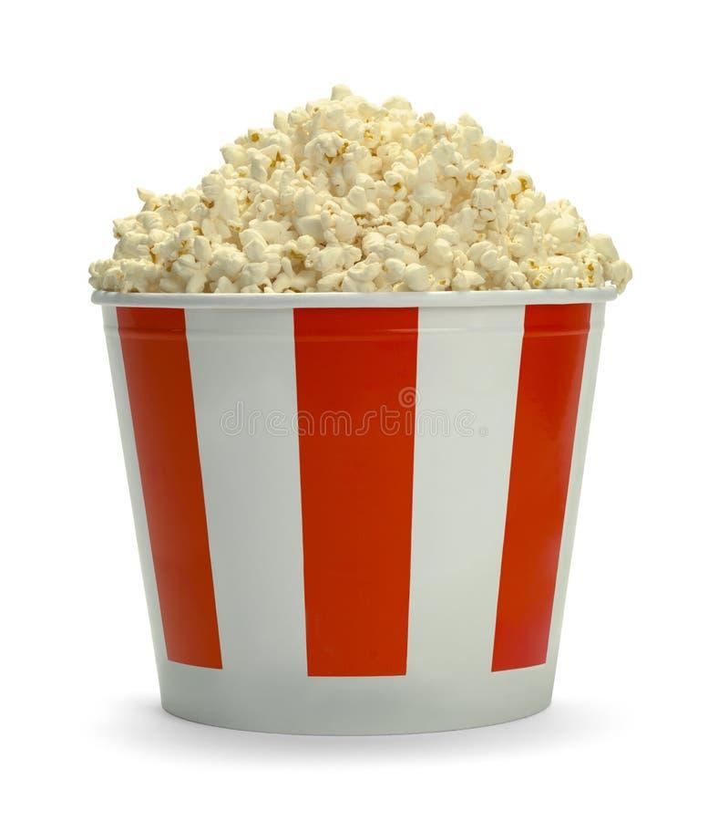 Emmer van Popcorn Zijaanzicht stock foto's