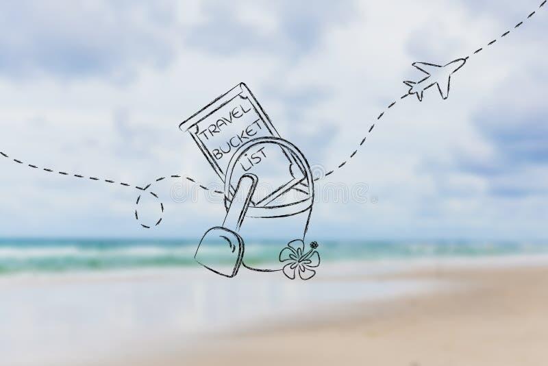 Emmerlijst van reisbestemming, met strandspeelgoed en vliegtuig royalty-vrije stock afbeelding