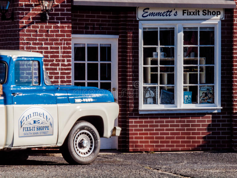 Emmett`s Fixxit Shop. In Mayberry royalty free stock image