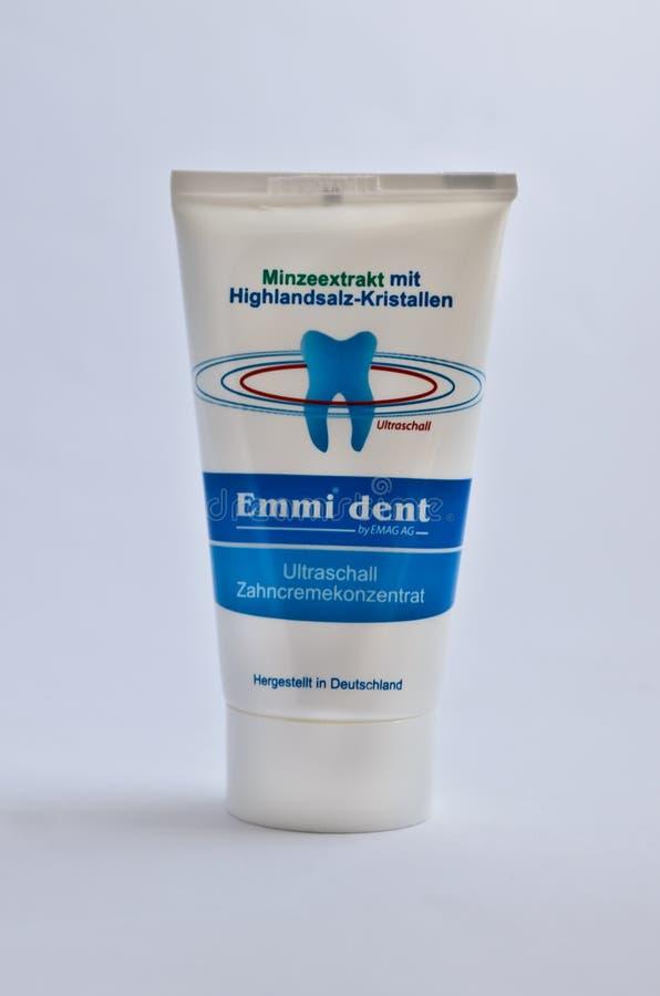 Emmi dent. Tooth pasta tube isolated on white stock photo