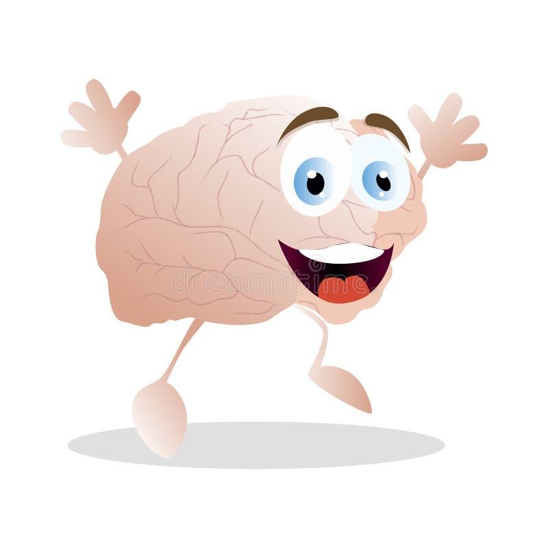Emoção do cérebro da felicidade, mascote dos desenhos animados do vetor ilustração royalty free
