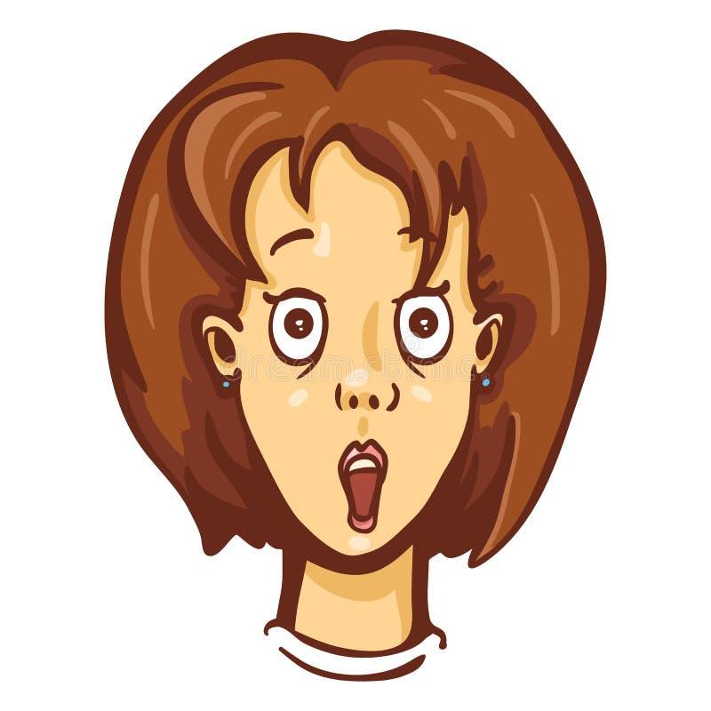 Emoção do caráter fêmea dos desenhos animados do vetor Mulher surpreendida ilustração stock