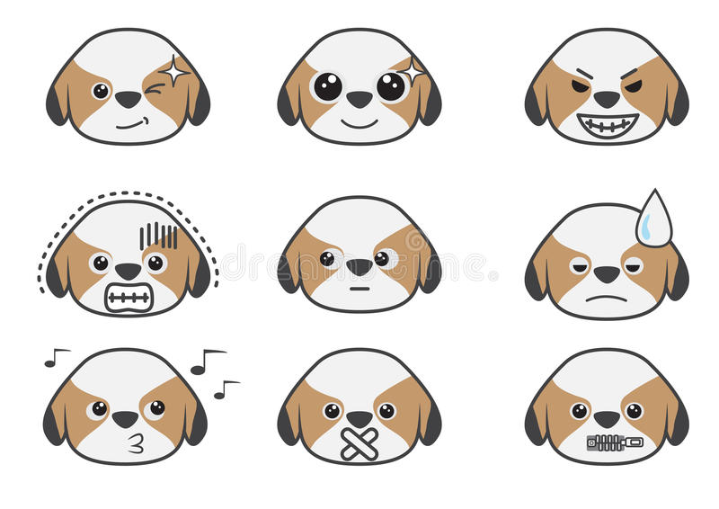 Emoção 05 dos desenhos animados de Tsi zhu ilustração do vetor