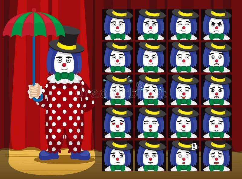A emoção dos desenhos animados de Umbrella Strawberry Costume do palhaço enfrenta a ilustração do vetor ilustração royalty free