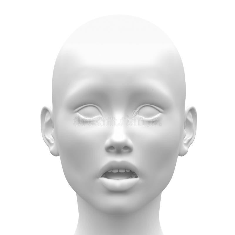 Emoção fêmea branca vazia da cara do medo - vista dianteira ilustração royalty free