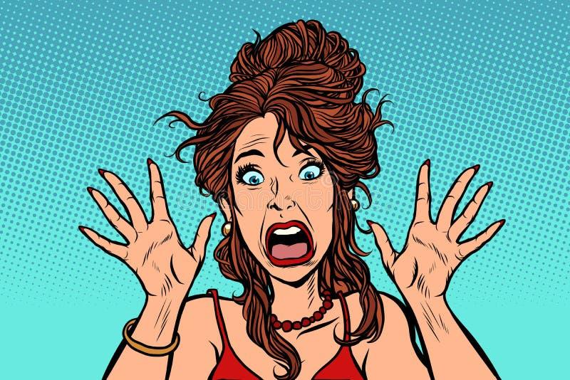 Emoção humana da mulher assustado engraçada ilustração royalty free