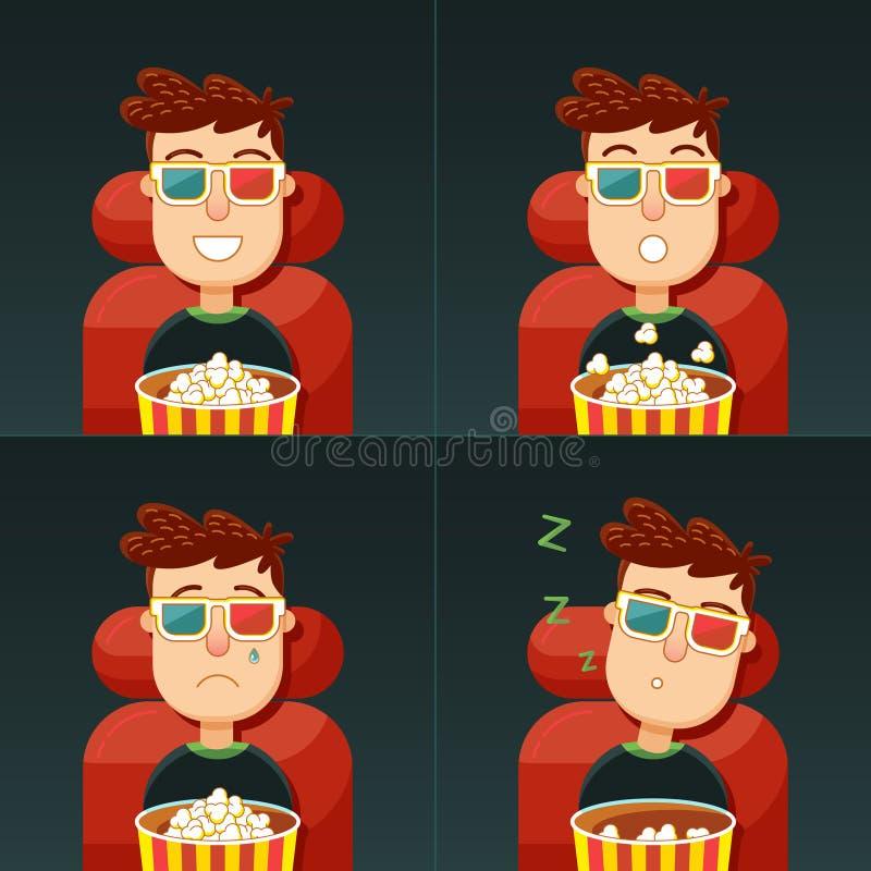Emoção no cinema ilustração royalty free